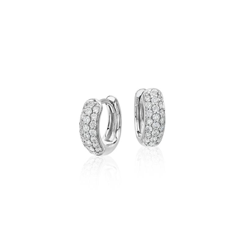 Mini Diamond Pavé Hoop Earrings in 14k White Gold (1/3 ct.