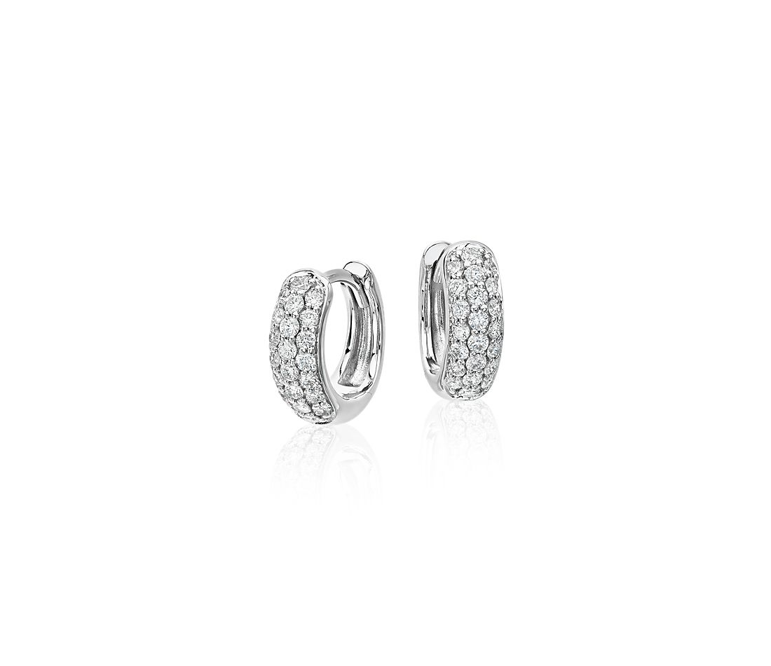 Mini Diamond Pavé Huggie Hoop Earrings in 14k White Gold (1/3 ct. tw.)