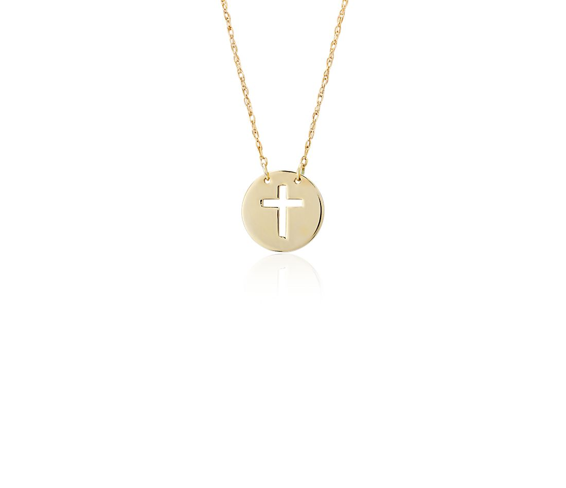 Mini Disk Cross Necklace in 14k Yellow Gold