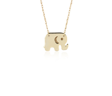 Mini Elephant Necklace in 14k Yellow Gold
