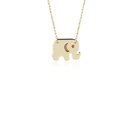 Collier orné d'un petit pendentif éléphant en or jaune 14carats