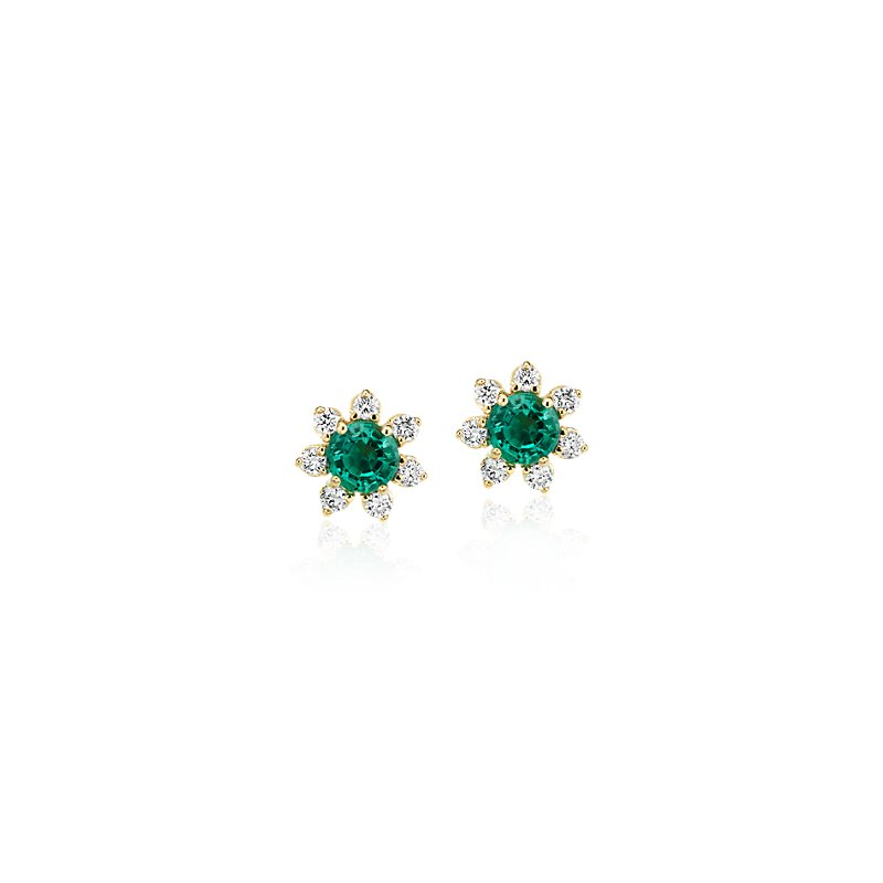 Mini Emerald Earrings with Diamond Blossom Halo in 14k Yellow Gol