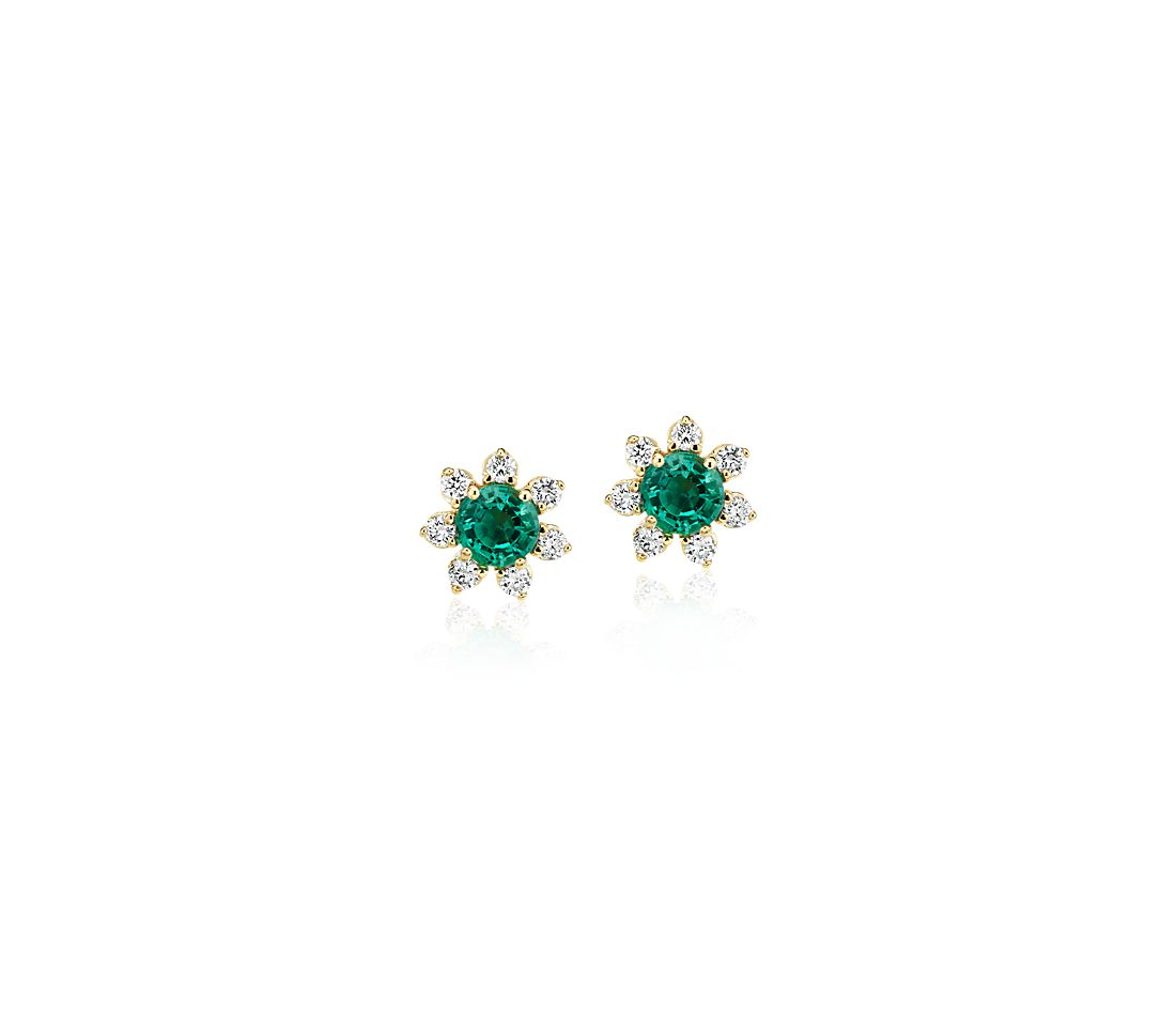 Mini Emerald Earrings with Diamond Blossom Halo in 14k Yellow Gold (3.5mm)