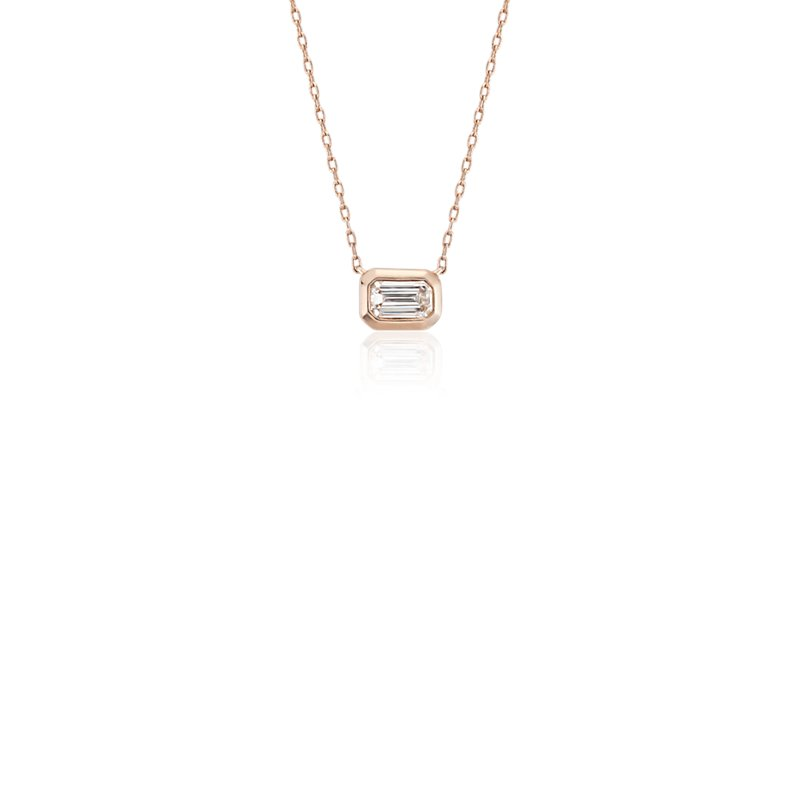 Mini Bezel-Set Emerald-Cut Diamond Pendant in 14k Rose Gold (1/5