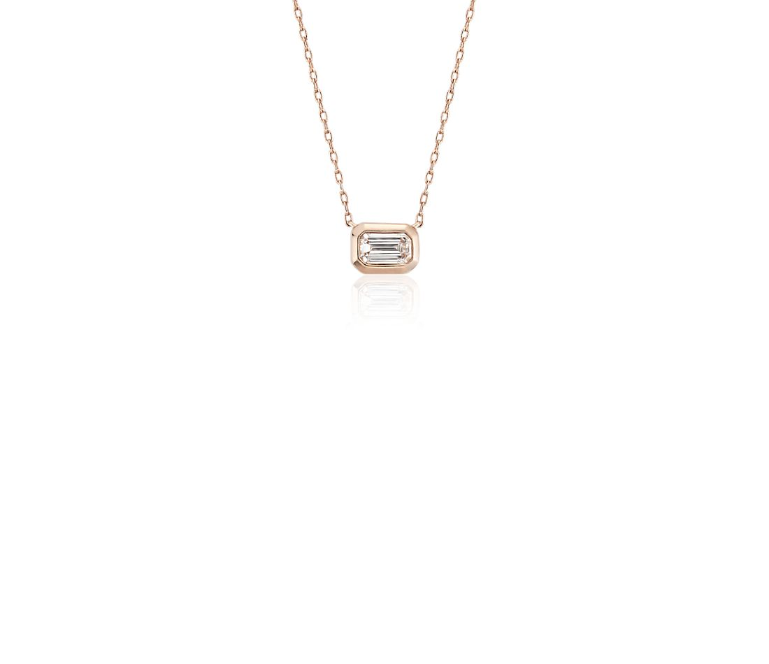 Mini Bezel-Set Emerald-Cut Diamond Pendant in 14k Rose Gold