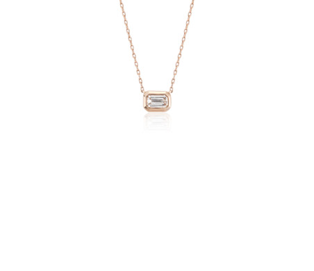 Mini Bezel-Set Emerald-Cut Diamond Pendant in 14k Rose Gold (1/5  ct. tw.)