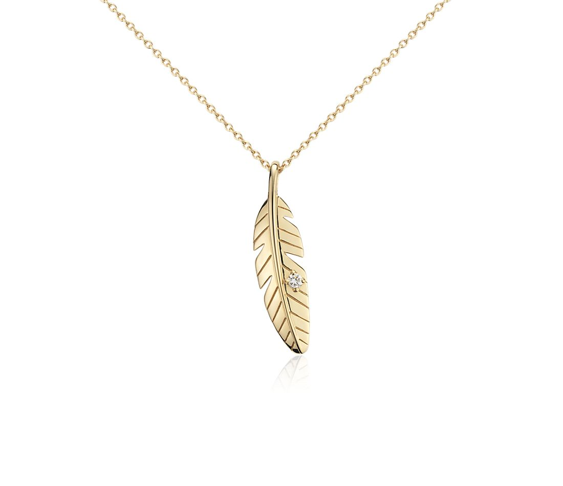 Mini Feather Diamond Pendant in 14k Yellow Gold
