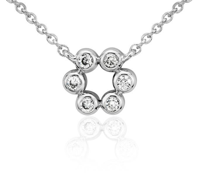 Mini Flower Diamond Necklace in 14k White Gold