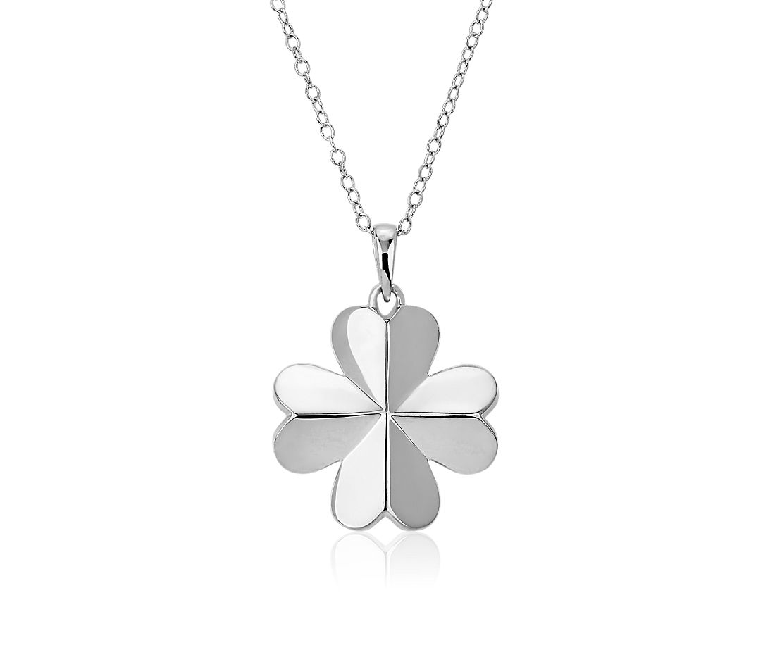 Mini Four Leaf Clover Pendant in Sterling Silver