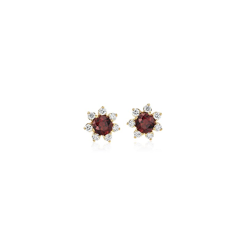 Mini Garnet Earrings with Diamond Blossom Halo in 14k Yellow Gold