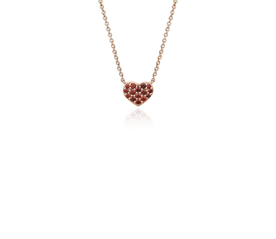 Mini Garnet Heart Pendant in 14k Rose Gold (1-1.5mm)