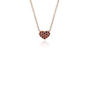 Petit pendentif coeur grenat en or rose 14carats