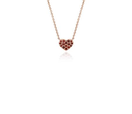 Mini garnet heart pendant in 14k rose gold blue nile mini garnet heart pendant in 14k rose gold mozeypictures Images