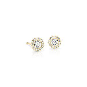 Boucles d'oreilles halo de diamants Martini en or jaune 14carats (1/2carat, poids total)