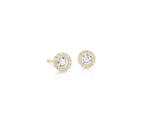 Boucles d'oreilles halo de diamants Martini en or jaune 14 carats (1/2 carat, poids total)
