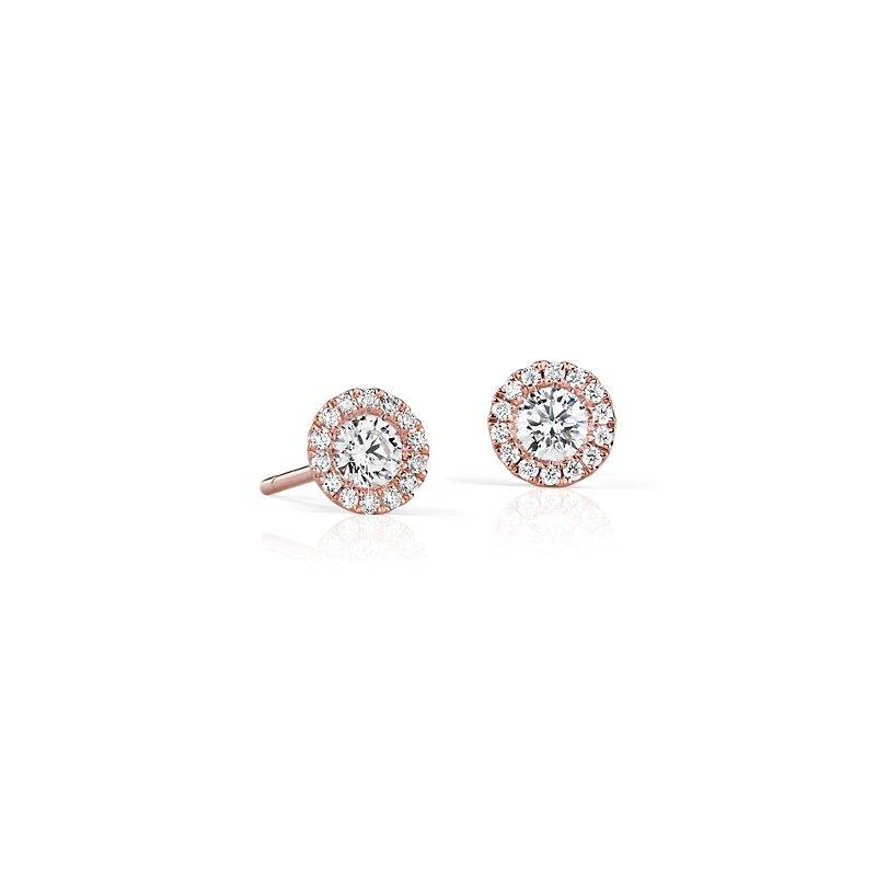 Martini Halo Diamond Earrings in 14k Rose Gold (1/2 ct. tw.)