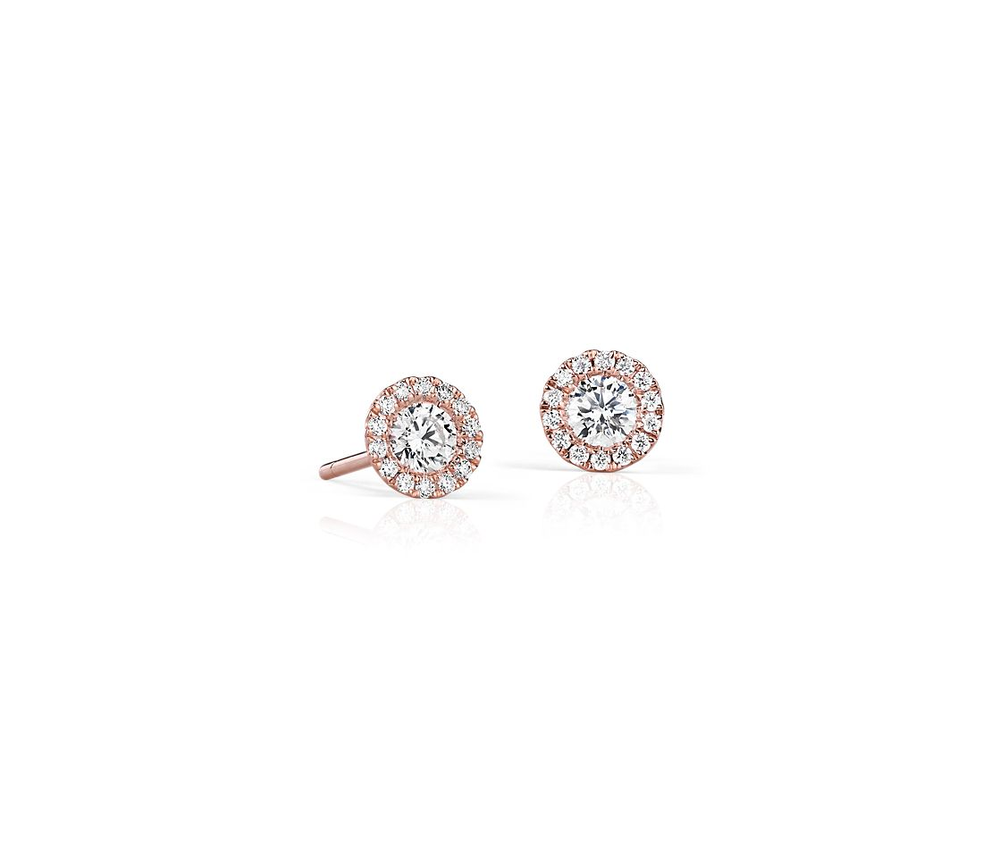 Martini Halo Diamond Earrings In 14k Rose Gold 1 2 Ct Tw