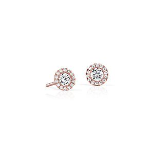 Boucles d'oreilles halo de diamants Martini en or rose 14 carats (1/2 carat, poids total)