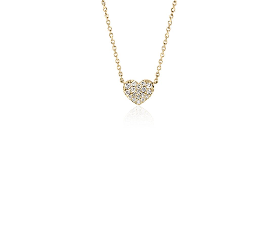 Mini Diamond Pave diamond heart Necklace in 14k Yellow Gold
