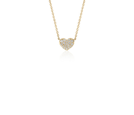 Mini Diamond Heart Necklace in 14k Yellow Gold (1/10 ct. tw.)