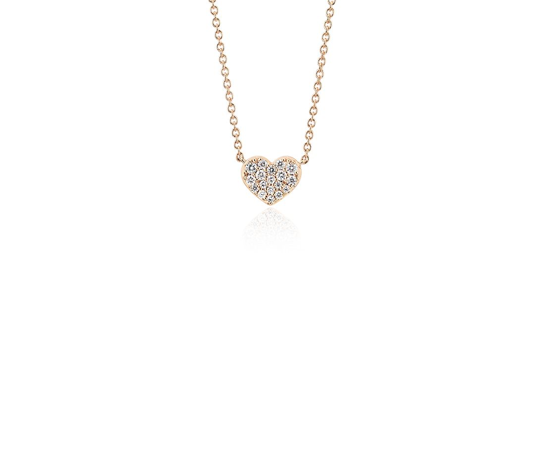 Mini collier diamant cœur en or rose 14 carats (1/10 carat, poids total)
