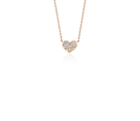 Mini collier diamant cœur en or rose 14 carats (1/10 ct, poids total)