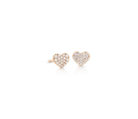 Mini Diamond Pave Heart Earrings in 14k Rose Gold (1/7 ct. tw.)