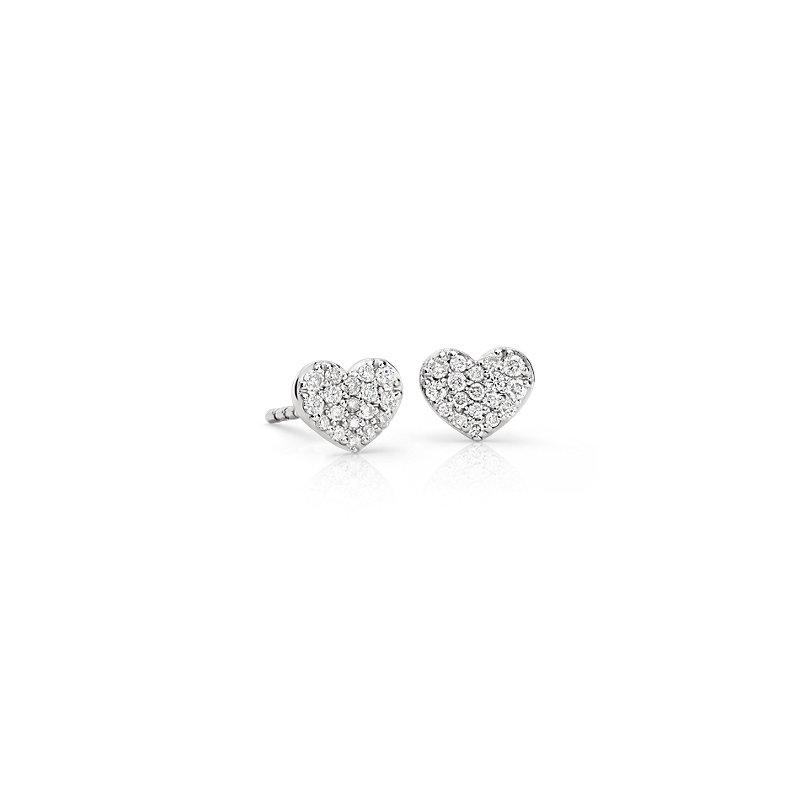 Mini Diamond Heart Earrings in 14k White Gold (1/10 ct. tw.)