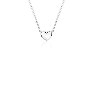 Mini Heart Necklace in Platinum