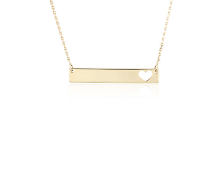 Mini Horizontal Bar Necklace with Heart Cut Out in 14k Yellow Gold
