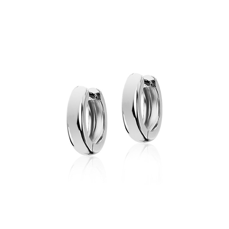 "Mini Huggie Hoop Earrings in 14k White Gold (1/2"")"