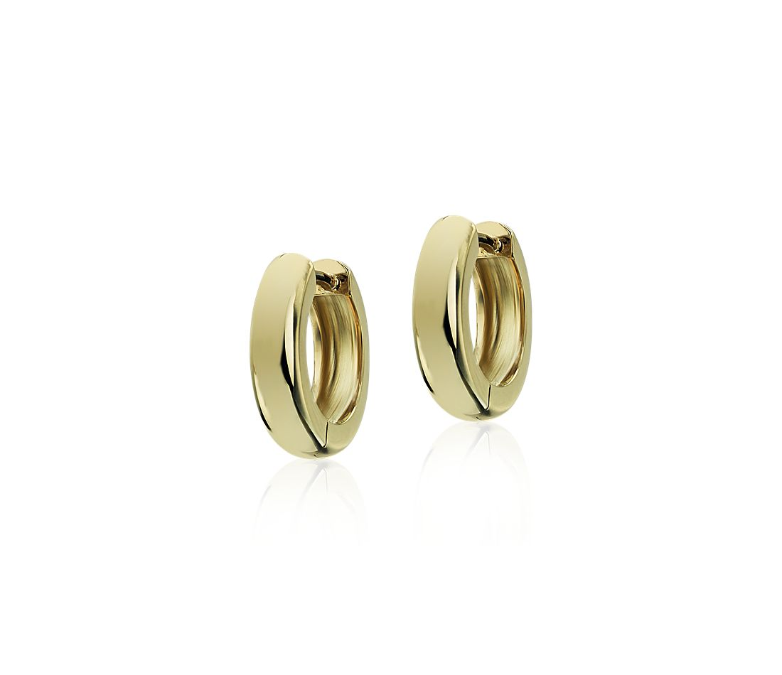 "Mini Huggie Hoop Earrings in 14k Yellow Gold (1/2"")"