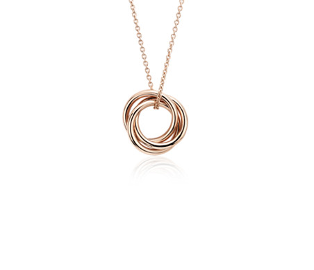 Mini Infinity Love Knot Pendant in 14k Rose Gold