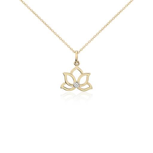 Mini Lotus Diamond Pendant In 14k Yellow Gold Blue Nile