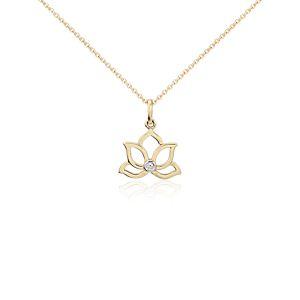 Mini Lotus Diamond Pendant in 14k Yellow Gold