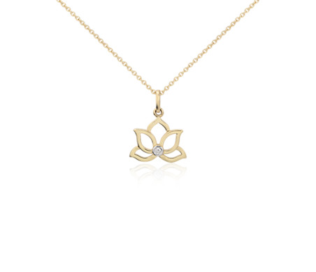 Mini lotus diamond pendant in 14k yellow gold blue nile mini lotus diamond pendant in 14k yellow gold aloadofball