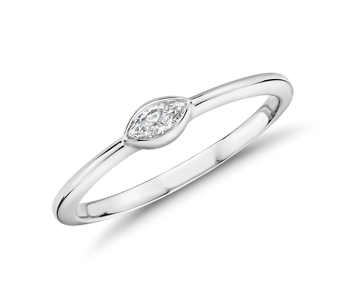 Mini Marquise-Cut Diamond Fashion Ring in 14k White Gold (1/10 ct. tw.)