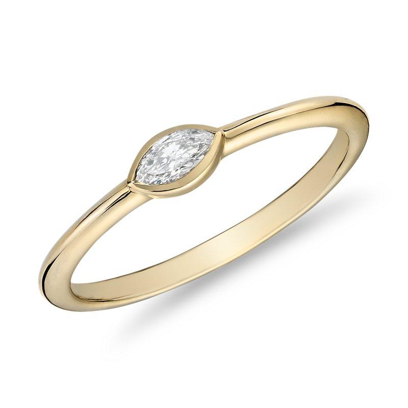 Mini Marquise-Cut Diamond Fashion Ring in 14k Yellow Gold (1/10 c