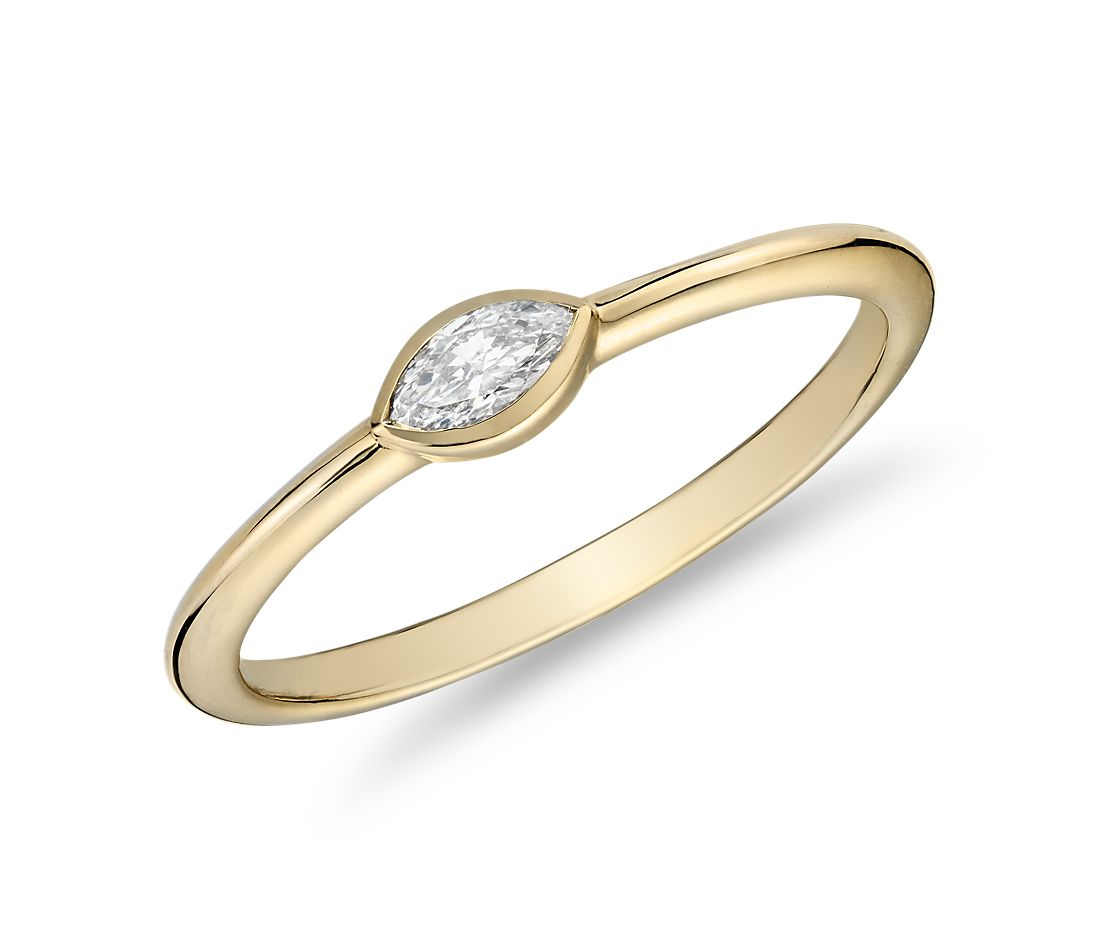 Mini Marquise-Cut Diamond Fashion Ring in 14k Yellow Gold (1/10 ct. tw.)