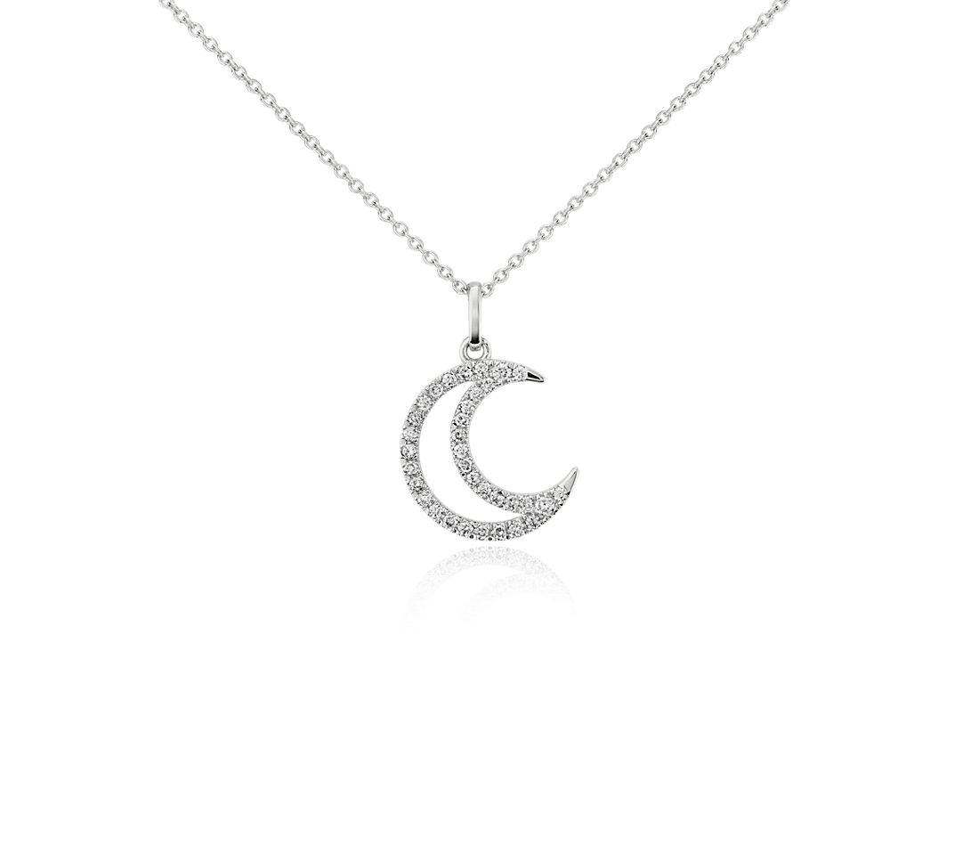 Mini Moon Pavé Diamond Pendant in 14k White Gold (1/10 ct. tw.)