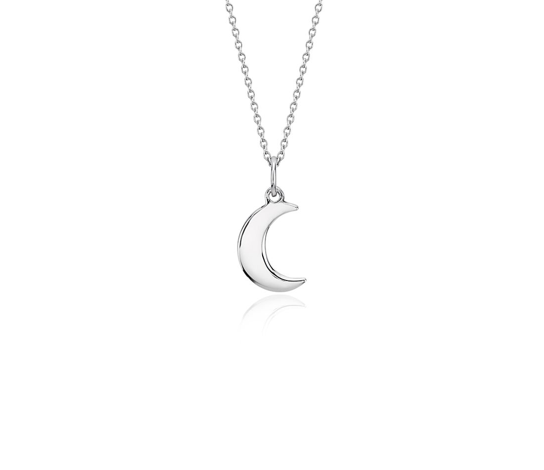 Mini Moon Pendant in Sterling Silver
