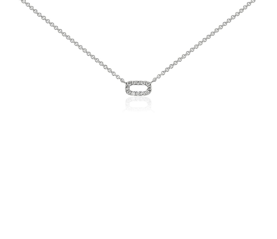 Petit collier en diamants barre ouverte en or blanc 14 carats