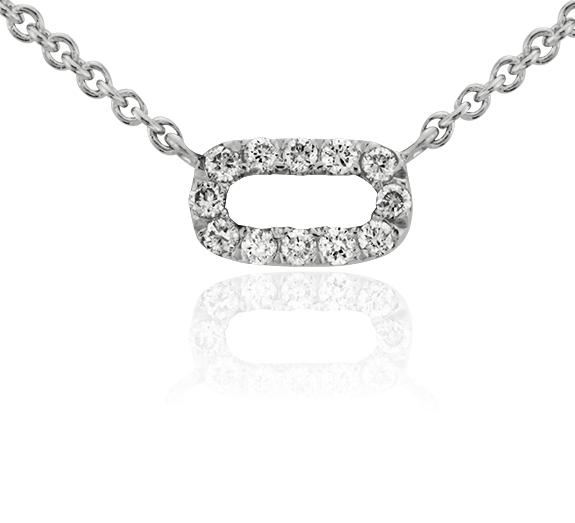 Petit collier en diamants barre ouverte en or blanc 14carats