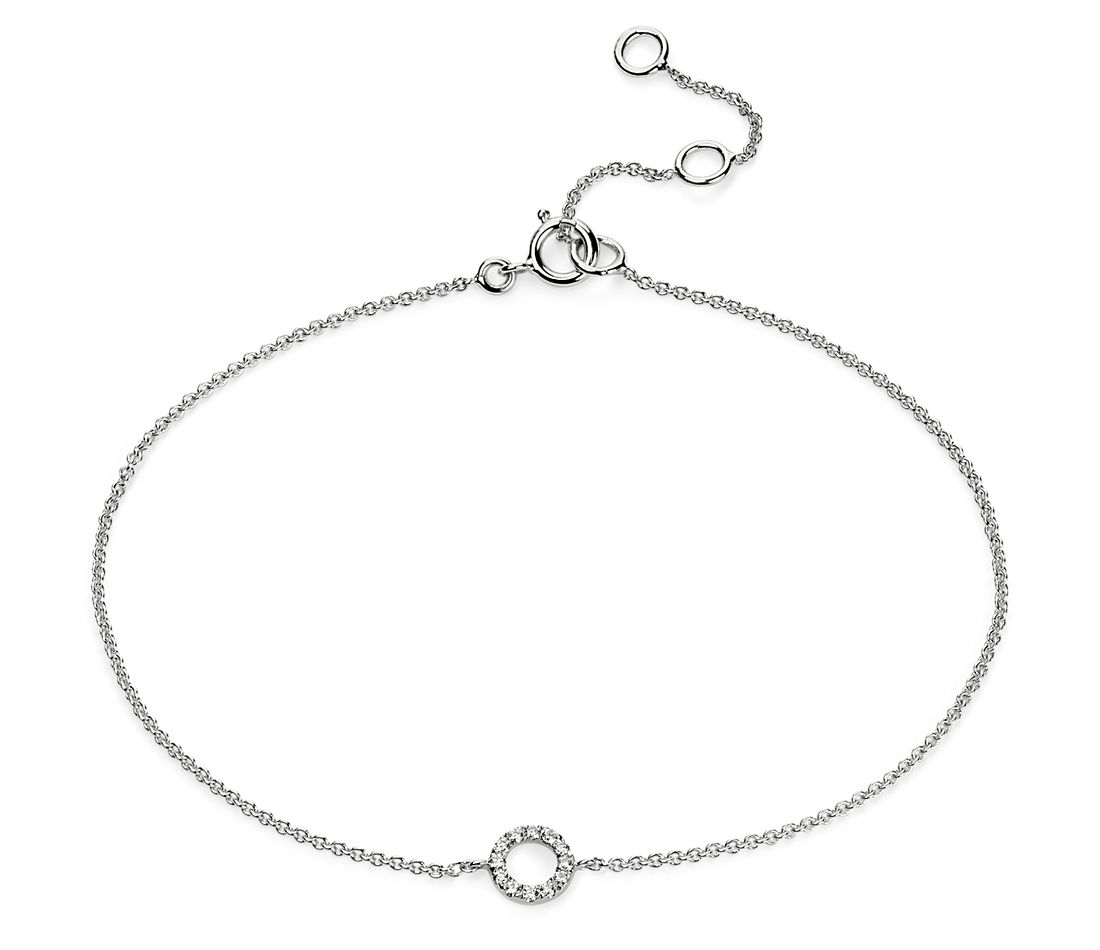 Mini Open Circle Diamond Bracelet in 14k White Gold