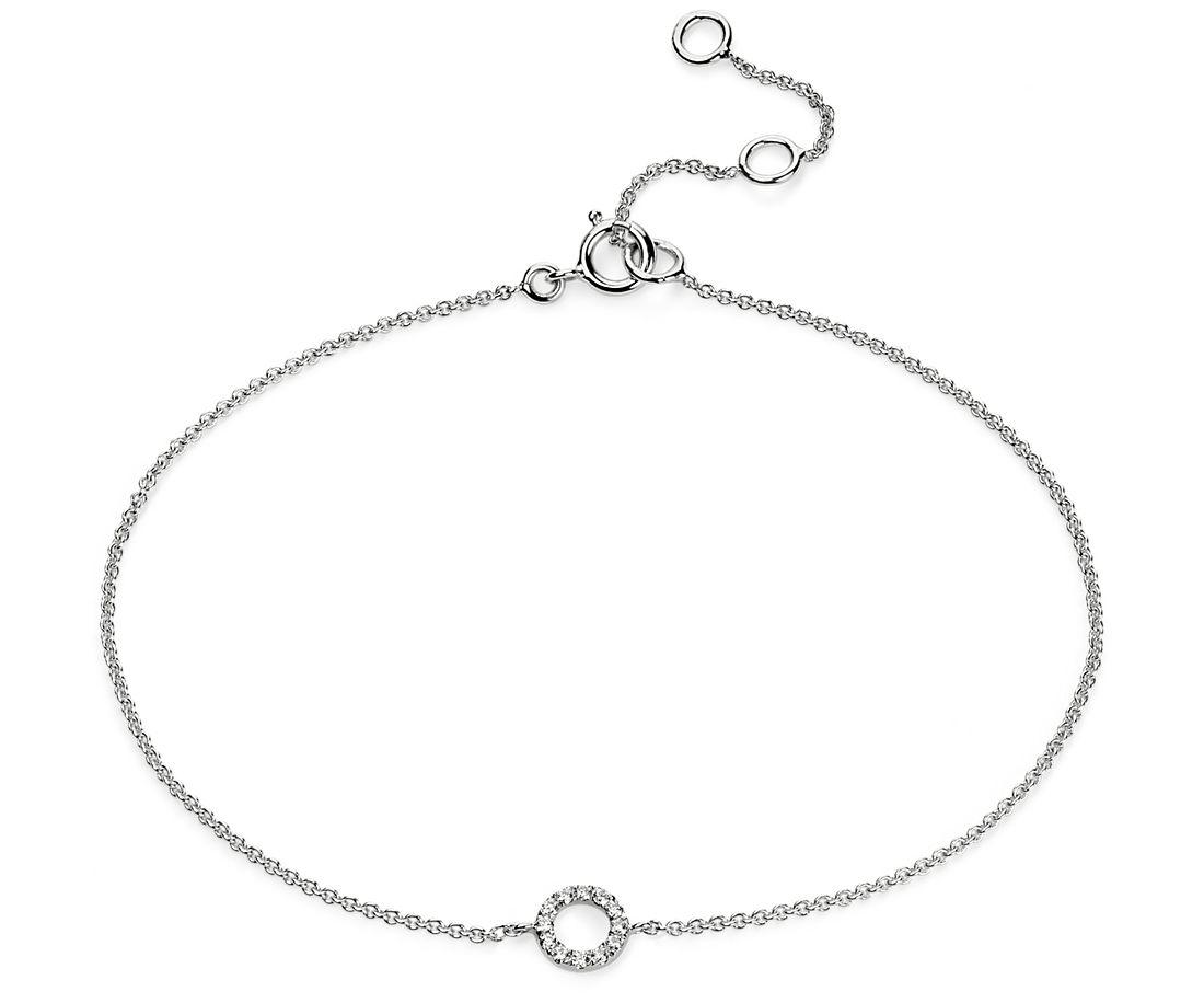 Petit bracelet diamant cercle ouvert en or blanc 14carats