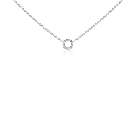 Blue Nile Mini Open Circle Diamond Necklace in 14k White Gold XkvN5