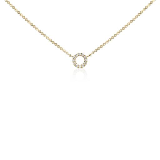 mini circle diamond necklace in 14k yellow gold blue nile