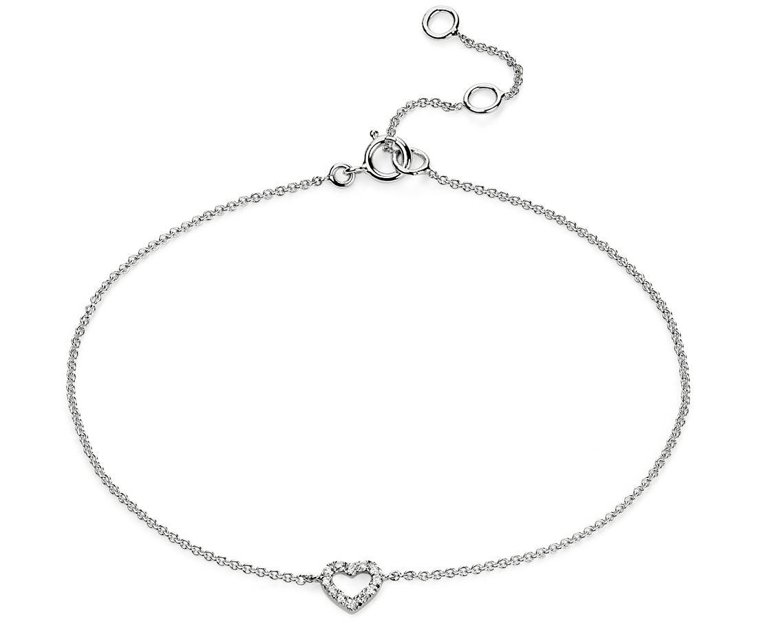 Brazalete de diamantes con corazones pequeños en oro blanco de 14 k
