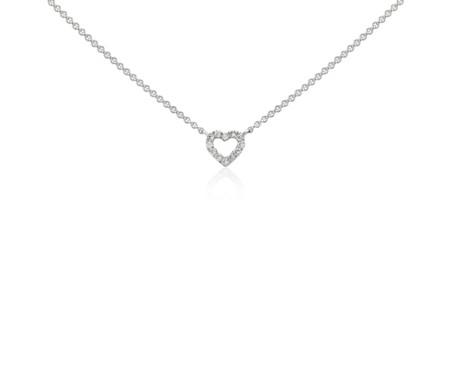 Mini Heart Diamond Necklace in 14k White Gold