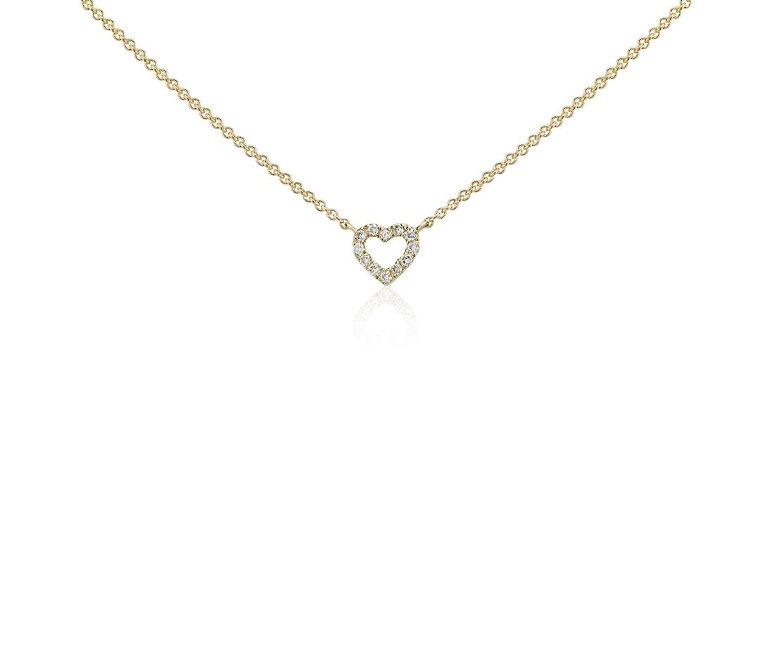 Mini Heart Diamond Necklace In 14k Yellow Gold Blue Nile